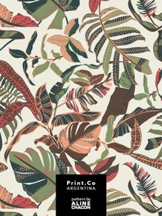 Tropical textile pattern for PrintCo Argentina,. Boho Pattern, Pattern Floral, Textile Pattern Design, Tropical Pattern, Motif Floral, Surface Pattern Design, Textile Patterns, Textile Prints, Pattern Art
