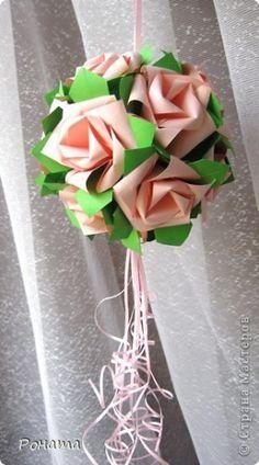 Поделка, изделие Кусудама, Оригами, Оригами модульное: Свадебные лебеди и розы Бумага Свадьба. Фото 14