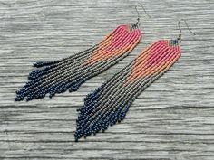 Beaded earrings Pink grey seed bead fringe earrings extra