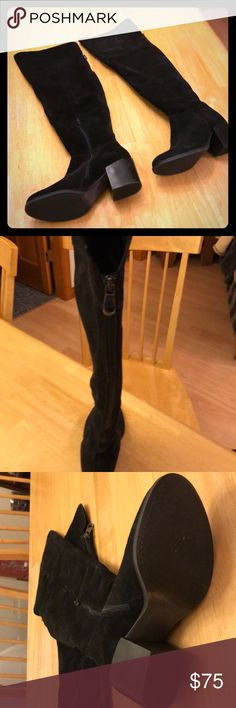 Steve Madden OTK boots Steve Madden OTK boots in black suede sz8.5. Zipper in the back Steve Madden Shoes Over the Knee Boots