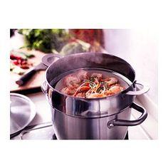 IKEA - STABIL, Acessório p/cozer vapor, Pode cozinhar ao mesmo tempo diferentes tipos de comida a vapor, usando apenas um recipiente; permite poupar energia.Pode usar-se com a maioria de tachos e panelas de 4-5 litros ou maiores.Podem empilhar-se até 3 acessórios para cozinhar a vapor; permite cozinhar uma maior quantidade de alimentos no mesmo recipiente.Permite cozer vegetais a vapor, preservando o sabor e os seus nutrientes.