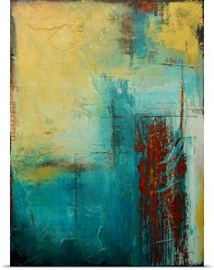 """Vertical abstract painting with a variety of textured lines and patches of color - """"Distant Limit"""" wall art by Erin Ashley from Great BIG Canvas Painting Prints, Wall Art Prints, Framed Prints, Paintings, Buy Prints, Canvas Prints, Abstract Expressionism, Abstract Art, Modern Art"""