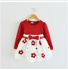2017 Baby Girls Toddler New Born Flower Dress for Newborn Long Sleeves Baby Dresses (Free Shipping)
