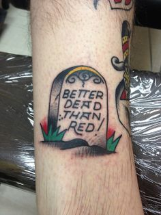 Traditional Tombstone Tattoo by Krooked Ken at Black Anchor Tattoo in Denton MD by krookedken, via Flickr
