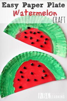 Fun and Easy Paper Plate Watermelon Craft perfect for the letter W or just for fun! - http://abccreativelearning.com