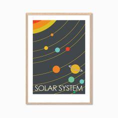 PLACES | Solar System Poster : Modern Illustration Retro Art Wall Decor Print