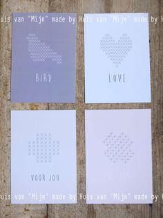 """Cards, x jes, kruissteken, kaarten made by Huis van """"Mijn"""","""