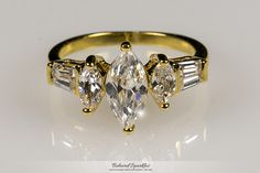 Burke Marquise and Baguette Engagement 18k Gold Ring | 2.5 Carat | Gold | Cubic Zirconia