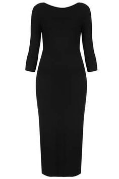 Scoop Back Midi Bodycon Dress - Dresses  - Clothing