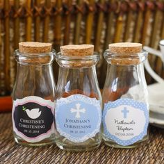 Personalized Religious Vintage Milk Favor Jars by Beau-coup