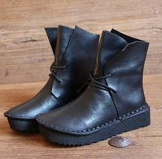 Handmade Black Women Leather BootsOxford Retro Women Shoes Flat Soft ShoesFall BootsPersonal Style Boots Ankle Boots Booties by HerHis