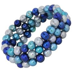 Honora Blue Moon Freshwater Cultured 3 Strand Stretch Bracelet $100.00