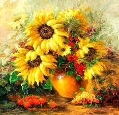 Chart Needlework Craft DMC Counted Cross Stitch Pattern PDF Vase Sunflowers