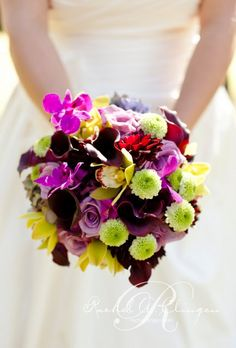 purple green yellow wedding bouquet
