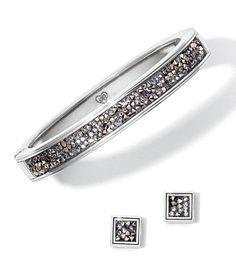 Crystal Rocks Slim Hinged Bangle and Post Earrings