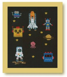 Just bought this book the other week and began stitching the yellow robot!! Cross stitch by Makoto Oozu.