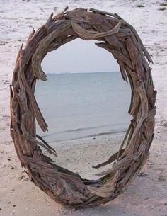 drift wood mirror...great for a beach house.