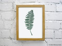 Christmas Fern Green Linocut Block Relief Print - Plant Fern Flowers Garden Forest Home and Garden. $20.00, via Etsy.