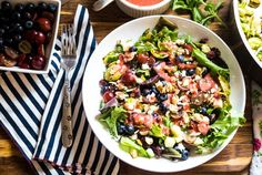 Brussels Sprout & Kale Salad with Strawberry Vinaigrette by Natalie