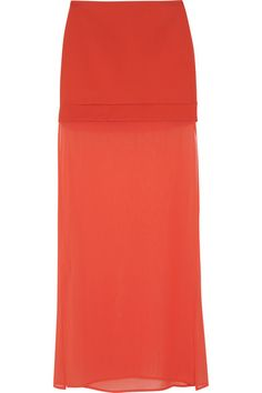 DKNY Ponte and stretch-silk chiffon maxi skirt