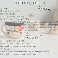 Crochet Crafts, Free Crochet, Mugs, Knitting, Projects, Color, Nova, Diy And Crafts, Rugs