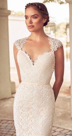 paloma blanca spring 2018 bridal cap sleeves sweetheart neckline full embellishment elegant classic sheath wedding dress keyhole back short train (5) zv -- Paloma Blanca Spring 2018 Wedding Dresses