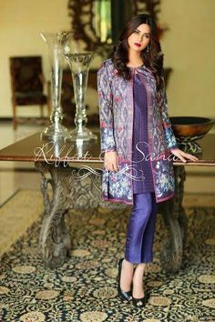 Semi formal winter p series are the luxury dresses collection designed by Sana Salman(Riffat &Sana) for the young women who loves to wear luxury embroidered work dresses. Pakistani Fashion Party Wear, Indian Fashion Dresses, Indian Designer Outfits, Pakistani Outfits, Indian Outfits, Latest Pakistani Fashion, Stylish Dresses For Girls, Stylish Dress Designs, Designs For Dresses