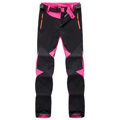 LoClimb Women Winter Softshell Ski Pants Warm Fleece Waterproof Trousers Outdoor Trekking Mountain Climbing Hiking Pants,AW086