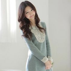 $6.16 New Arrival Korea Fashion Sweet Corochet Design Collar Long Sleeve Dress