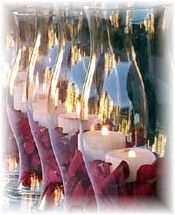 Centerpieces - hurricane lamp. Already have hurricane lamps and candles from my sister's wedding, might as well use them again!