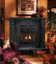 Thinking of painting my fireplace mantel and surround black This is very rich.hmmm black or gold yikes Marble Fireplace Mantel, Black Fireplace, Custom Fireplace, Marble Fireplaces, Modern Fireplace, Fireplace Surrounds, Fireplace Ideas, Stone Tiles, Brick Wall
