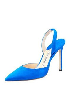 Carolyne Suede High-Heel Halter Pump, Blue by MANOLO BLAHNIK at Bergdorf Goodman.