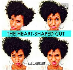 The heart-shaped cut is the one cut that usually works for every curl type. Tapered Natural Hair, Pelo Natural, Natural Curls, Curly Hair Styles, Natural Hair Styles, Types Of Curls, Hair Affair, Natural Hair Inspiration, Natural Hair Journey