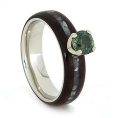 14k White Gold Engagement Ring Holding Beautiful Blue Green Sapphire Accented by Mother of Pearl Ring and Bolivian Rosewood by jewelrybyjohan on Etsy https://www.etsy.com/listing/218390742/14k-white-gold-engagement-ring-holding