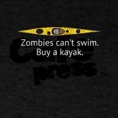 Kayak Zombie T-Shirt on CafePress.com