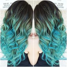 Glorious pastel teal/blue balayage ombrè hair colore created by stylist Sydniiee using Wella, Pravana Vivids and Manic Panic. More Hair Styles Like This!