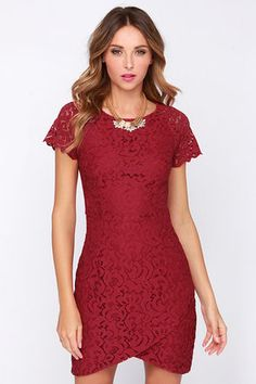 You know a great thing when you see it, that's why you would never pass on pretty dresses like the Vino Better Wine Red Lace Dress! A glamorous display of ornate wine red lace is backed by matching stretch knit throughout the fitted, princess-seamed bodice and tulip skirt. Sheer short sleeves and a triangular cutout at back amp up the chic factor! Exposed gunmetal zipper at back. Bodice is lined. Self: 70% Cotton, 30% Cotton. Lining: 100% Polyester. Hand Wash Cold. Imported.