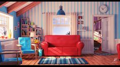 Cartoon living room bondok max Room Living room Animation background