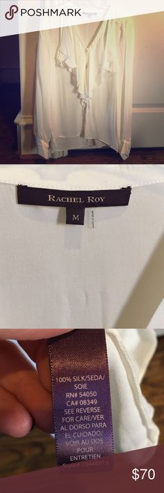 ✨REDUCED✨Rachel Roy silk blouse Perfect condition, never worn. Great for office attire or date night! Off-white/light cream colored. Rachel Roy Tops Blouses