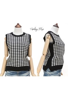 Black and White knitted hound's thooth vest Chic by KnittingbyDB