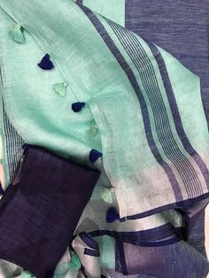 Linen saree Organic Linen by Linen sarees with zari Work and blouse piece Organic handwoven 100 count Linen saree Stitched blouse on request Uppada Pattu Sarees, Khadi Saree, Kurti, Plain Saree, Elegant Fashion Wear, Elegant Saree, Work Sarees, Fancy Sarees, Linen Blouse
