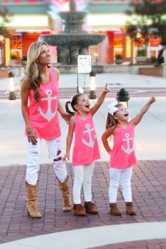 Mommy & Me Pink Anchor with a bow in the back Top | Mayah Kay Fashion