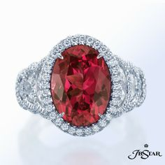 JB Star Red Spinel Ring 2129-005 - Mervis Diamonds. 5.90 ct red spinel oval with half moon diamond sides and micropave in platinum.