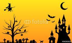 Vektor: Verrückte und gruselige Halloween Nacht