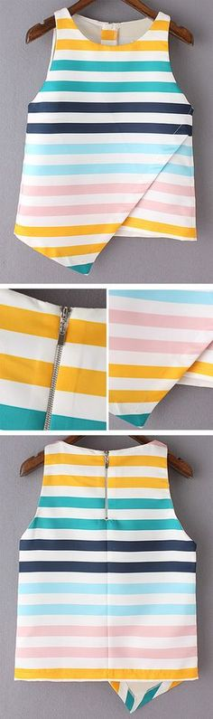 Sewing Blouse Multicolor Stripe Sleeveless Zipper Back Irregular Hem Blouse - Diy Fashion, Fashion Outfits, Womens Fashion, Fashion Design, Color Fashion, Latest Fashion, Fashion Tips, Fashion Trends, Sewing Clothes