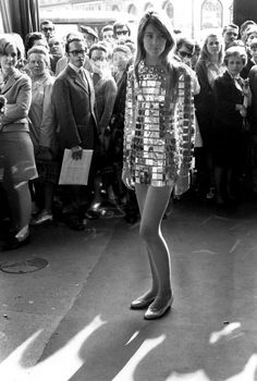 Francoise Hardy, 1968, DISCO FEVER, One of Hardy's most memorable looks: A metal Paco Rabanne dress made of glittering gold tiles.