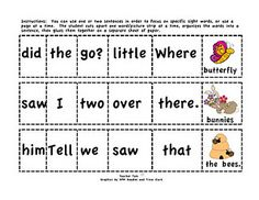 FREE--2 pages of Cut-and-Glue Sight Word Sentences for Spring!