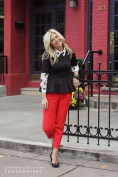 4/1.  Love the bold, polka-dotted blouse underneath the structured peplum. Great mix of bold/structured and playful/animated