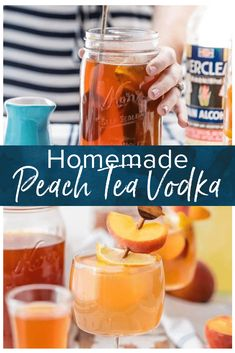 Homemade Peach Tea Vodka is an easy and fun DIY liqueur. Easily made by infusing Everclear with peaches and black tea, the perfect mixer for so many Summer cocktails! Plus find out how to make a Spiked Peach Arnold Palmer. Peach Vodka Drinks, Vodka Lime, Tea Cocktails, Summer Cocktails, Infused Vodka, Lime Juice, Rum Recipes, Drinks Alcohol Recipes, Yummy Drinks