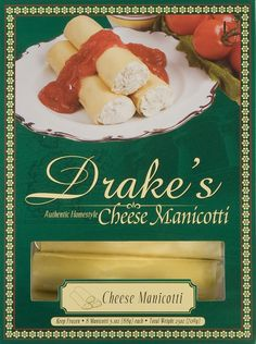 Drake's Pasta - Cheese Manicotti  Available in Frozen Grocery